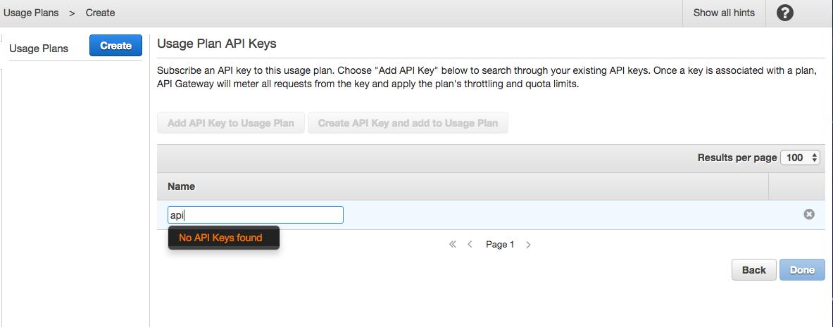 Subscribe API key to usage plan