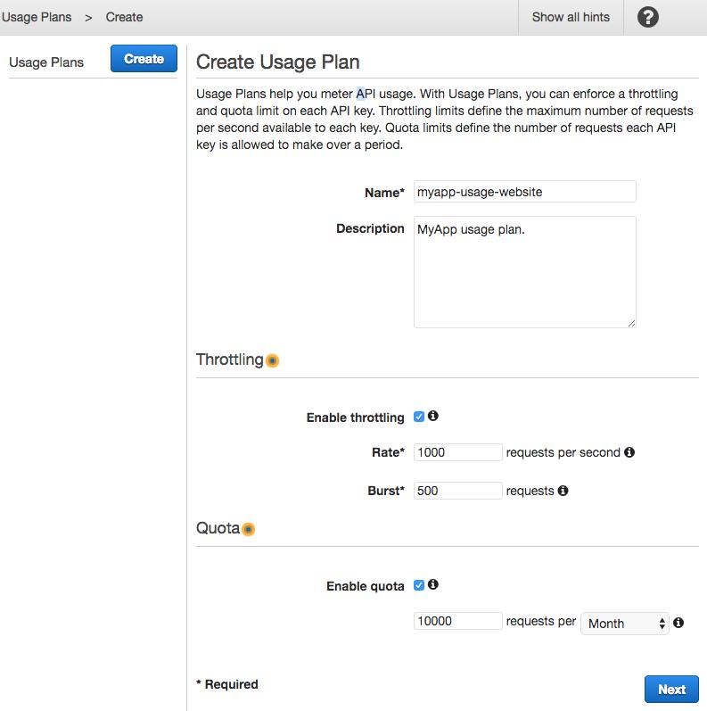 Create usage plan