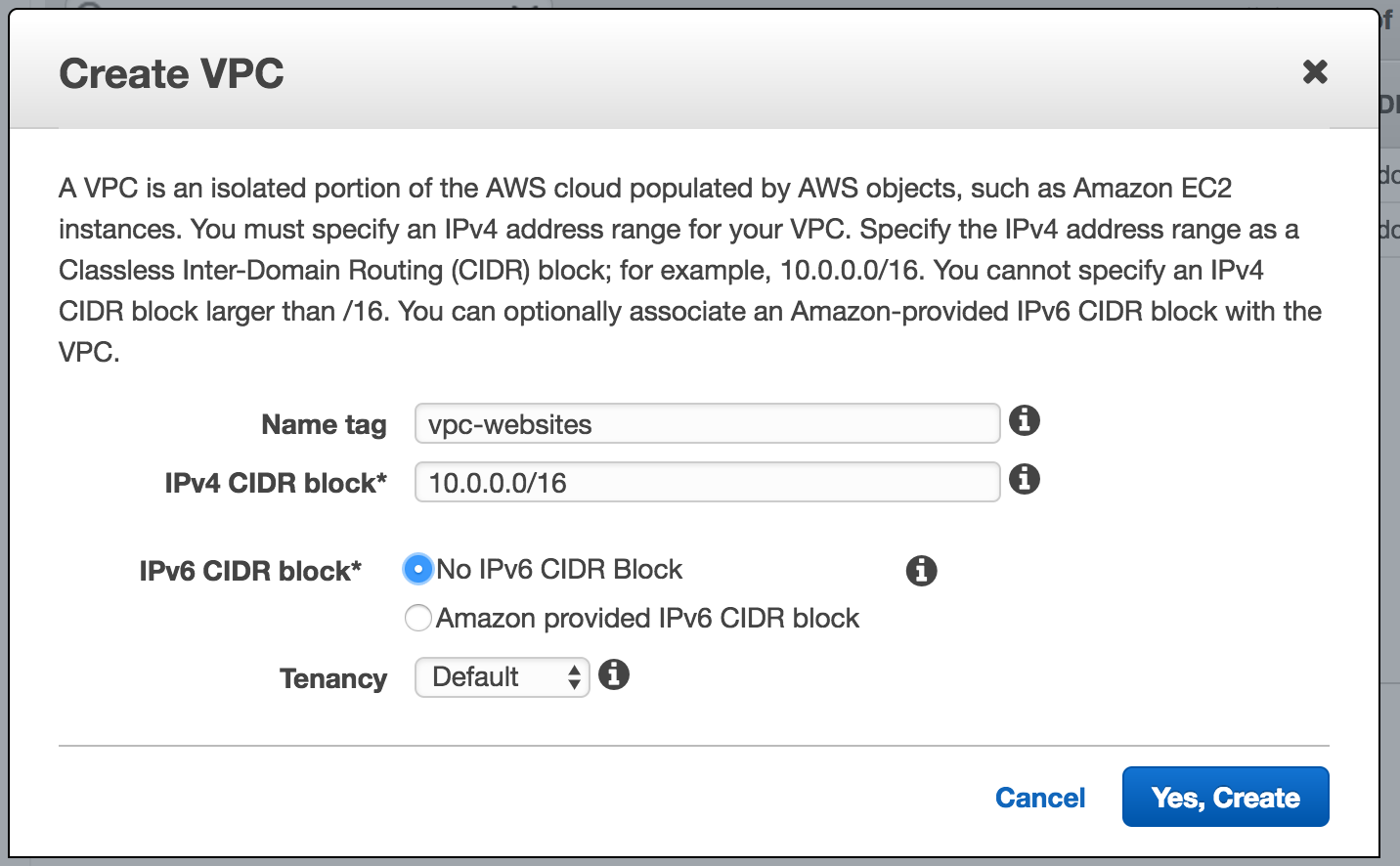 Create a VPC with a CIDR block!