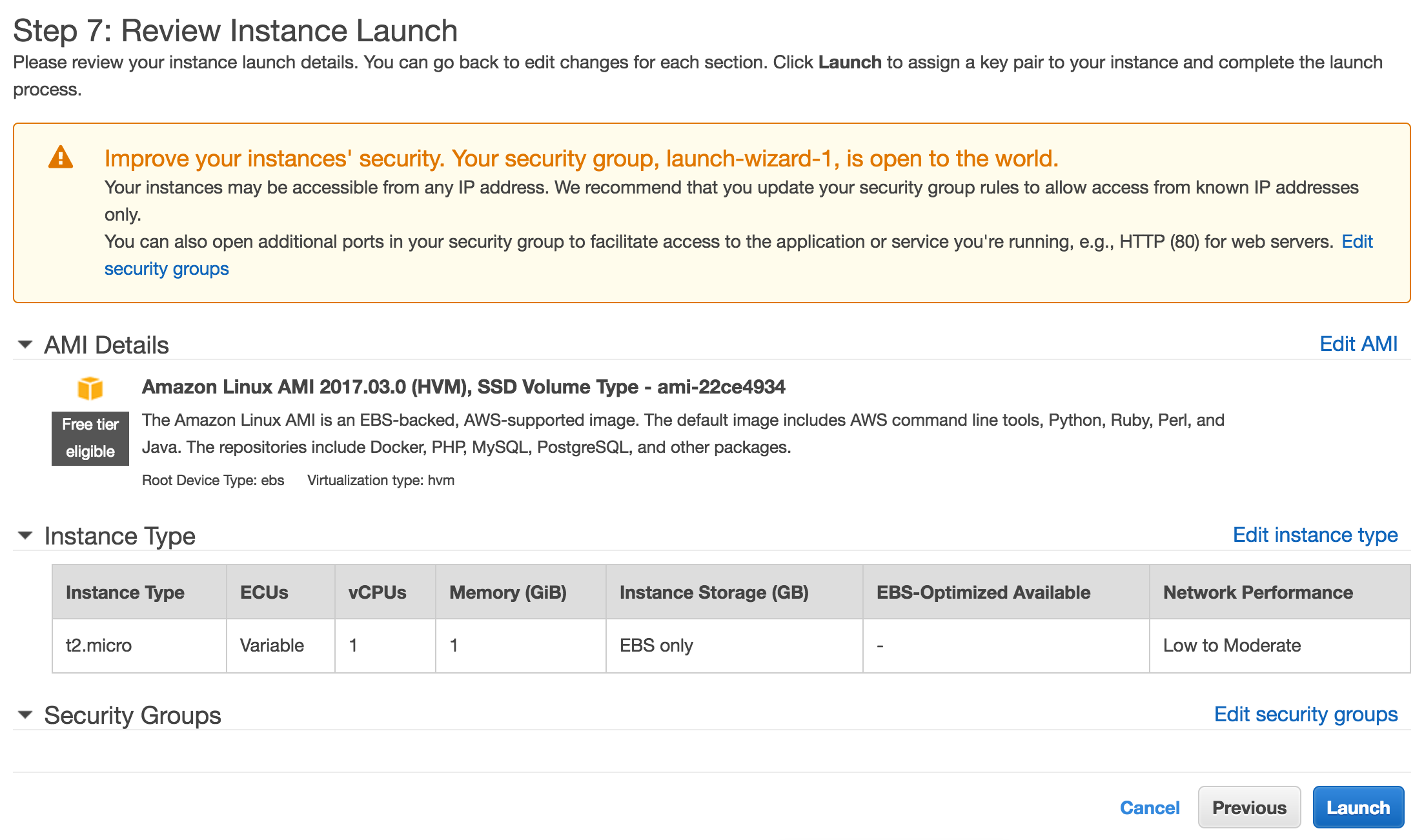 Review your instance launch