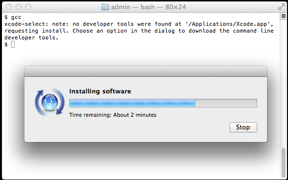 You'll get this prompt when you install xcode