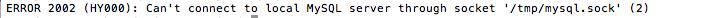 MySQL socket error