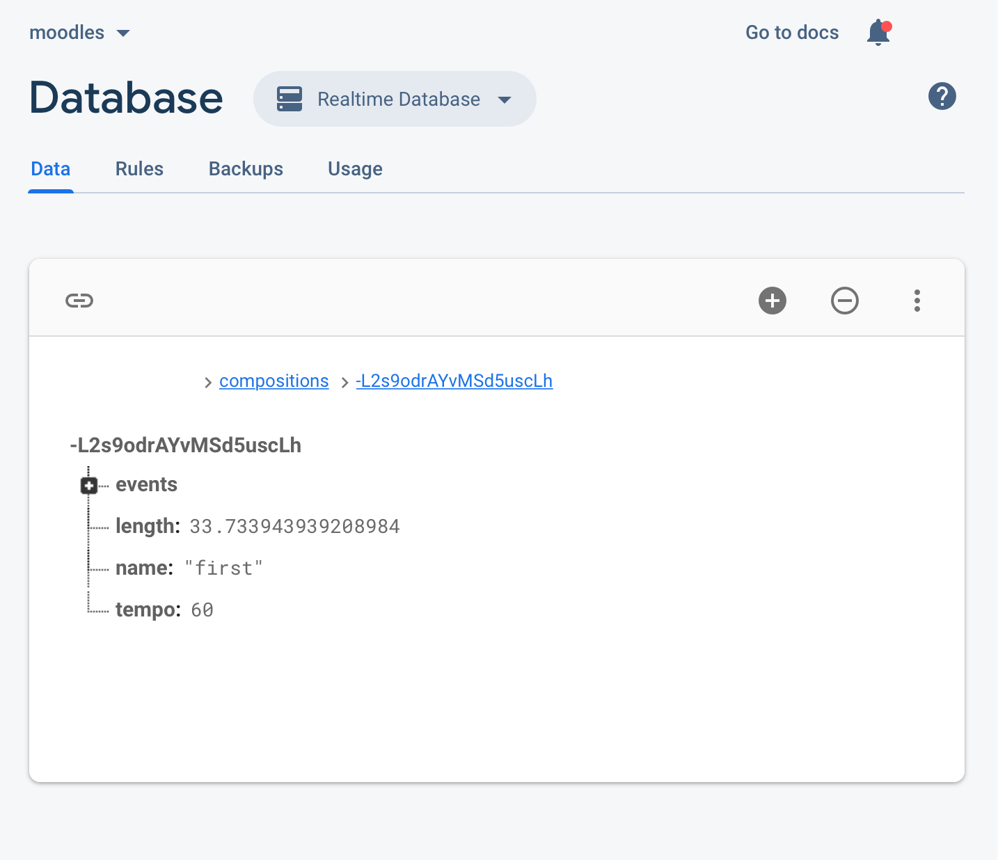 MusicJSON within Firebase Real-Time Database